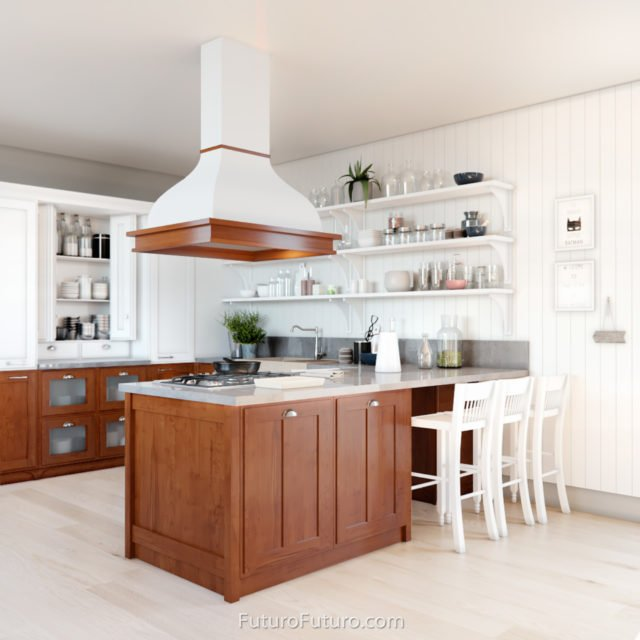 brown kitchen cabinets island range hood | island kitchen fan