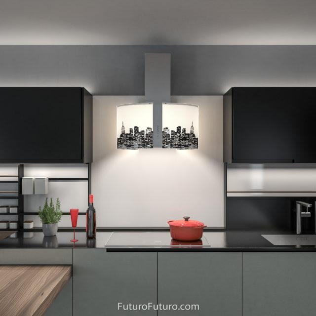 Designer glass kitchen hood - 27 inch Murano Metro Wall range hood - Futuro Futuro range hoods