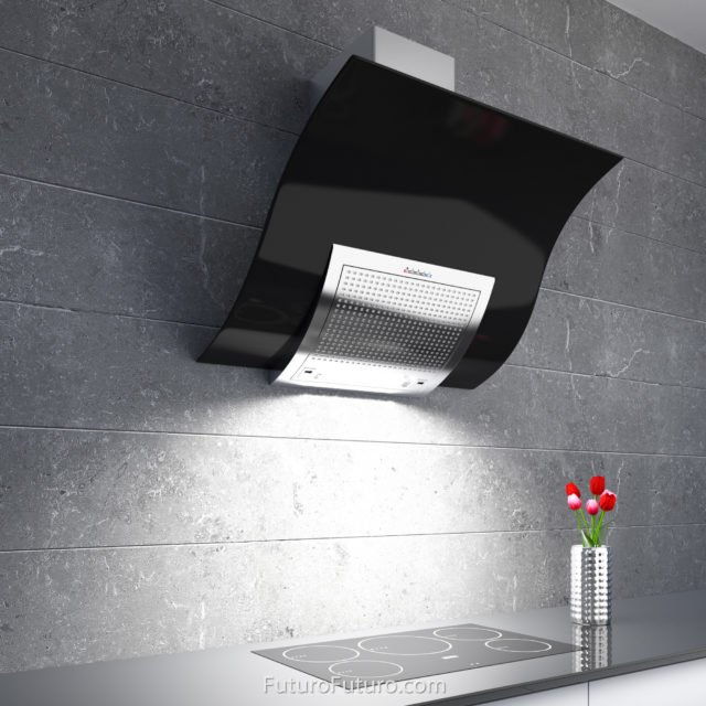 Black and white kitchen cabinets wall mount range hood | Luxury kitchen exhaust fan