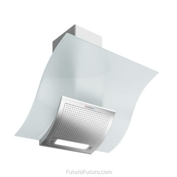 White Slanted Glass range Hood - 36-inch Wave White kitchen hood - Futuro Futuro vent hood
