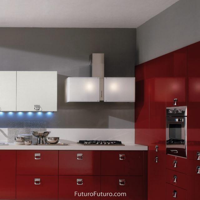 Glass white illuminated kitchen hood - 39 inch Murano Snow range hood - Futuro Futuro range hoods