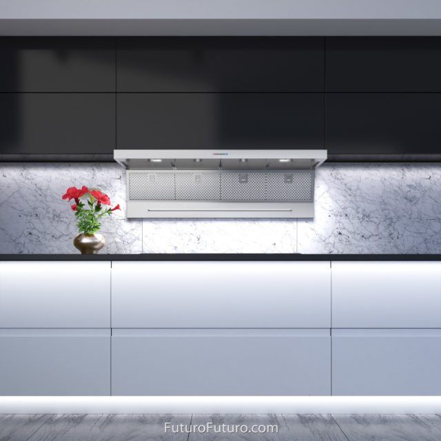 White kitchen cabinets stove hood | Stainless steel under cabinet vent hood