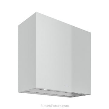 Reflective surface glass range hood | Crispy white kitchen hood