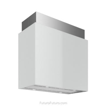 White glossy tempered glass ceiling mount range hood | Modern kitchen island range hood