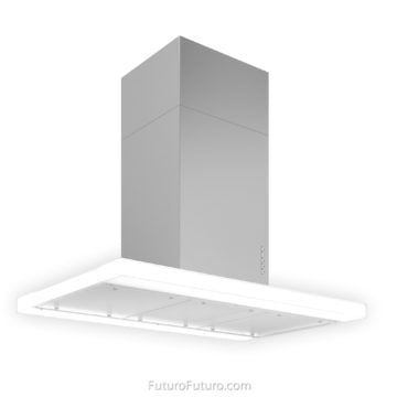White glass kitchen hood | Fingerprint-free finish range hood