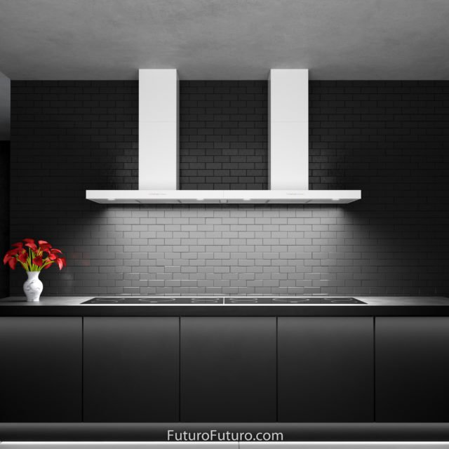 Black kitchen cabinets range hood | Wall mount range hood