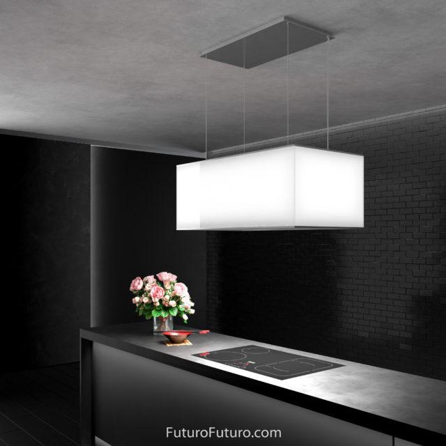 White kitchen hood - 36 inch Tactio Island range hood - Futuro Futuro range hoods