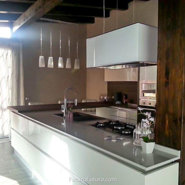 White countertop ceiling mount range hood | White cabinets ventless range hood