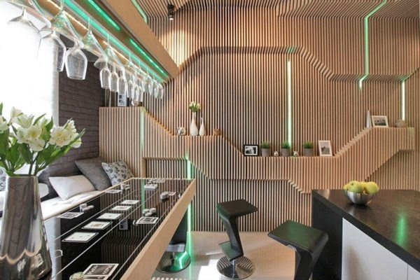Sci-Fi Kitchen With Striking Choice of Colors and Materials, Lombardy Glass Range Hood